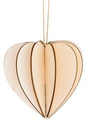 3D Heart Hanging Decoration - Natural