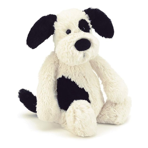 Jellycat: Bashful Black & Cream Puppy - Small Plush