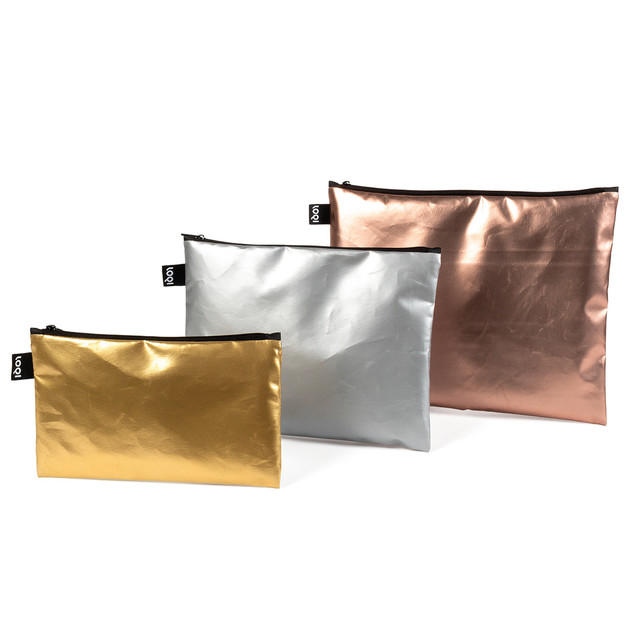 LOQI: Zip Pocket - Metallic Matt (Set of 3)