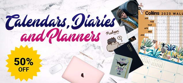 50% off 2020 Calendars,Diaries & Planners!