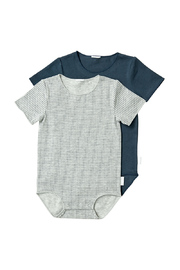 Bonds Wonderbodies Short Sleeve Bodysuit 2 Pack - New Grey Marle Spot/Harpoon (12-18 Months)