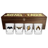 Justice League Movie Shot Glasses in Wooden Box (Set of 4)