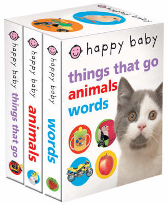 """Happy Baby Slipcase: """"Things That Go"""" , """"Animals"""" , """"Words"""" by Roger Priddy"""