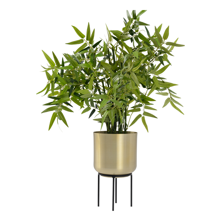 Mood Gold Metal Pot on Stand - Large image
