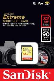 32GB SanDisk Extreme SDHC UHS-I Memory Card - 90MB/s, C10, U3, V30, 4K UHD, SD Card