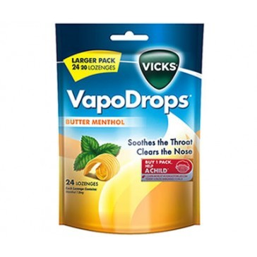 Buy Vicks Vapodrops Butter Menthol (24's) at Mighty Ape NZ