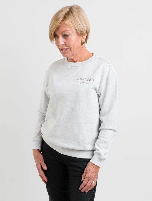 Dressed: Dressed For Me White Marle Crewneck Sweater - S