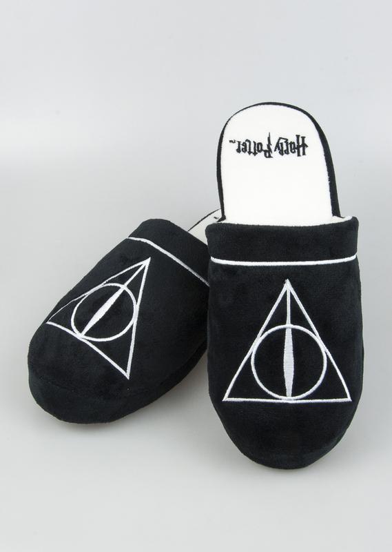 Harry Potter: Deathly Hallows Mule Slippers - Black & White Men's Large (UK 8-10)