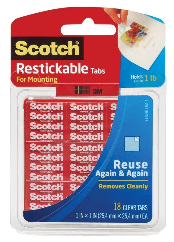 Scotch R103 Restickable Tabs 13mm x 13mm Pkt72