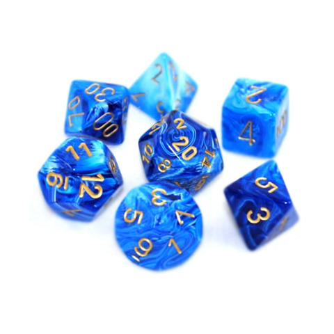 Chessex Signature Polyhedral Dice Set Vortex Blue/Gold