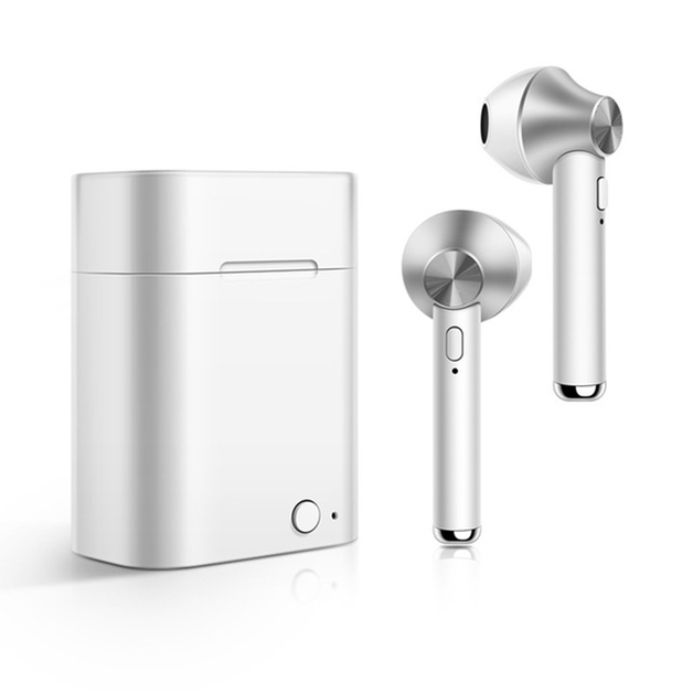 Wireless Bluetooth 5.0 Stereo In-Ear Earbuds with Built-In Microphone and Charge Box - Silver