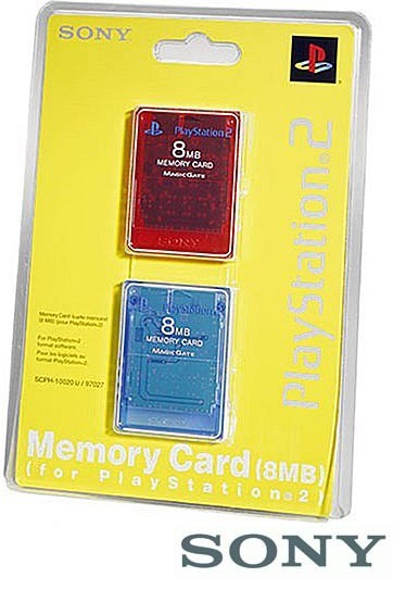 Sony PS2 Official Memory Card Twin Pack - Red and Blue for PS2