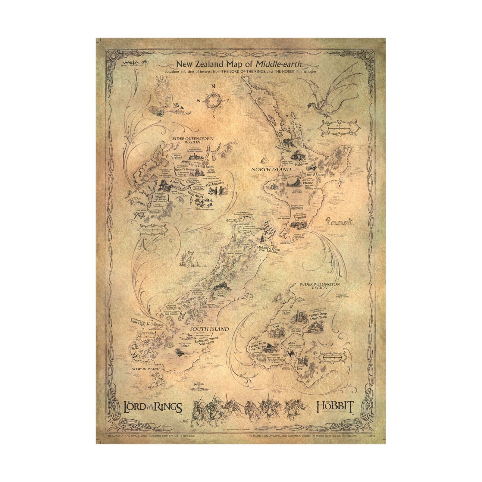 Lord of the Rings: New Zealand Map of Middle-Earth - by Weta image