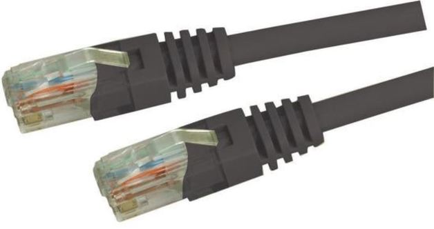 DYNAMIX Cat5e UTP Patch Lead (T568A Specification) 100MHz Slimline Moulding & Latch Down Plug 24AWG - Black (2m)