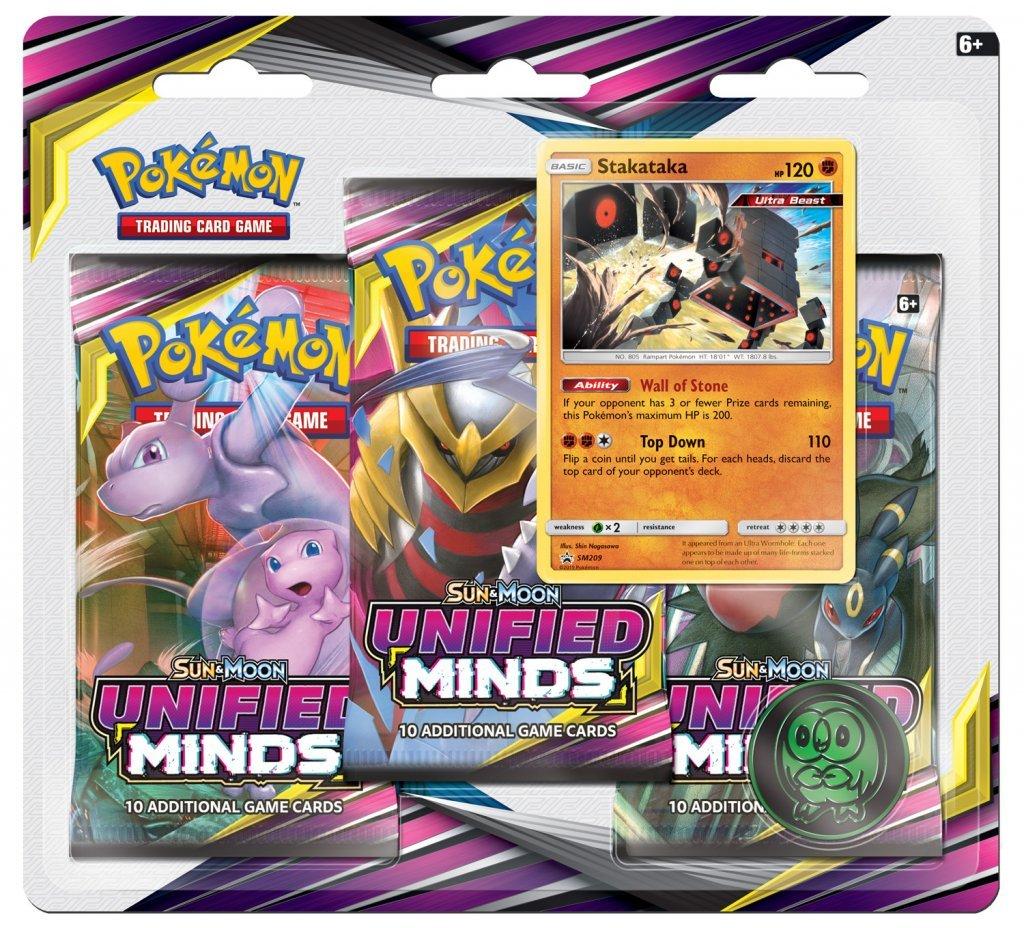 Pokemon TCG: Unified Minds Three Booster Blister - Stakataka image