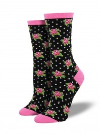 Womens Romantic Roses Socks - Black