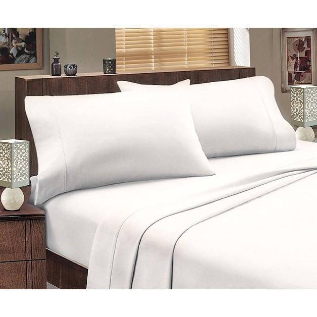 Park Avenue Egyptian Cotton Flannelette Sheet Set - Queen (White)