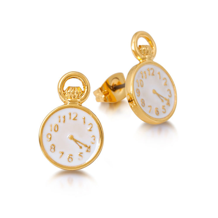 Couture Kingdom: Disney Alice in Wonderland Clock Earrings - Yellow Gold image