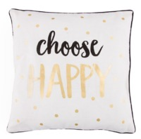 Metallic Monochrome Choose Happy Cushion