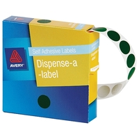 Avery Dark Green 14mm Diameter Circle Dispenser Labels (1050 Pack)