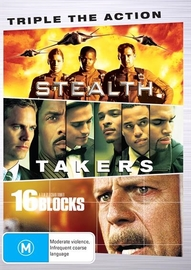 Triple the Action (Stealth / Takers / 16 Blocks) on DVD