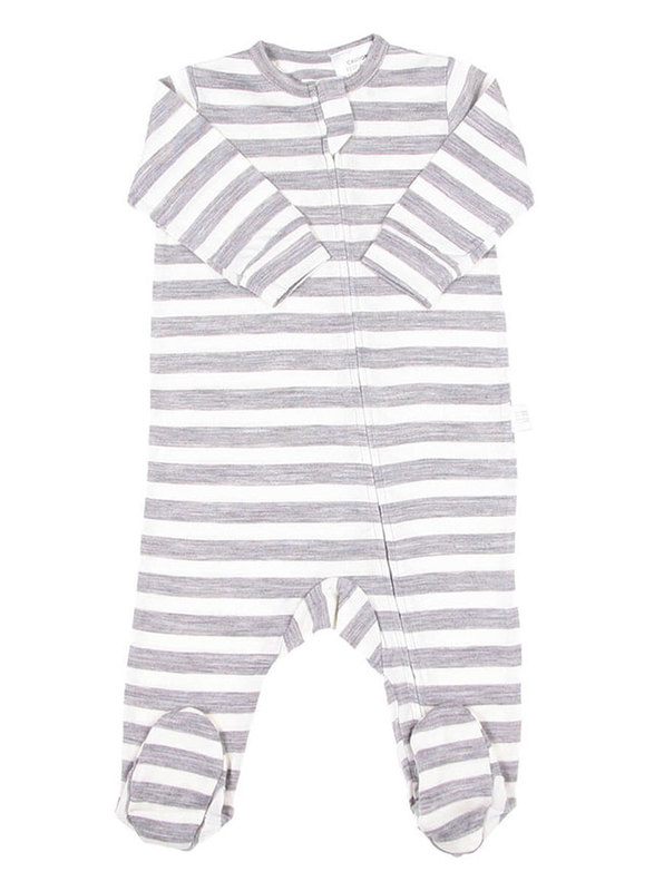 Babu: All-in-one with feet - Grey Stripe