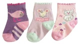 Hi-Hop Animal Friends Girl's 3 Pack Socks (6-12 Months)