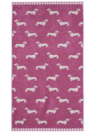 Emily Bond Hand Towel - Pink Dachshunds