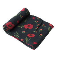 Little Unicorn: Cotton Muslin Swaddle - Dark Summer Poppy (Single)