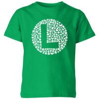 Nintendo Super Mario Luigi Items Logo Kids' T-Shirt - Kelly Green - 9-10 Years image