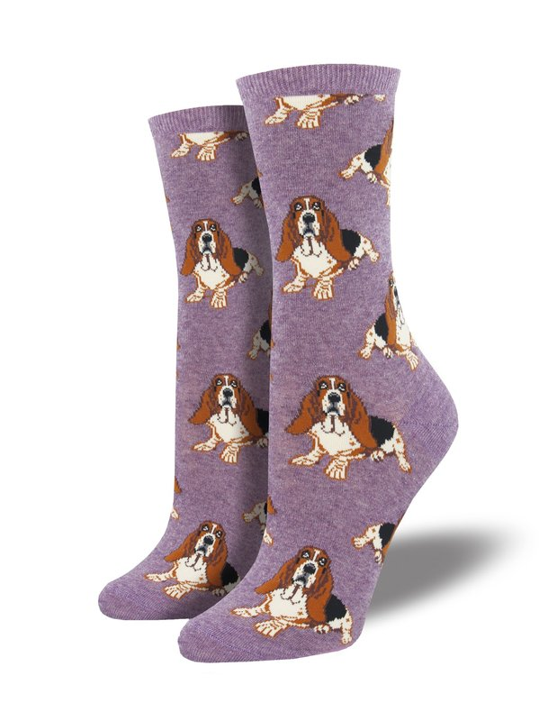 Socksmith: Womens Nothing But A Hound Dog Crew Socks - Heather Lavender