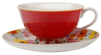Maxwell & Williams Cashmere Bloems Tea Cup & Saucer - Red/White (200ml)