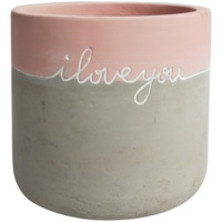 Message Planter: I Love You - Pink/Grey (12cm)