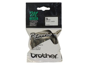 Brother MK-221 M Label Tape - Black on White (9mm x 8m)