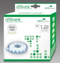 LEDware: LED Flex Ribbon Strip Kit - 12V 1.2m White LED/m Inc. Power Adapter