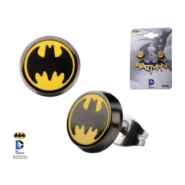 Batman Logo Enamel Round Ear Stud