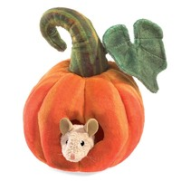 Folkmanis: Mouse In Pumpkin - Plush Puppet