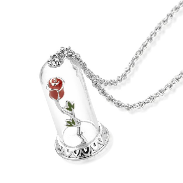 Couture Kingdom: Disney - Beauty and the Beast Enchanted Rose Necklace (White Gold)