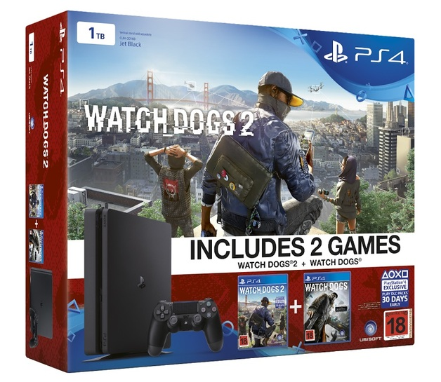 PS4 Slim 1TB Watch Dogs 2 bundle for PS4