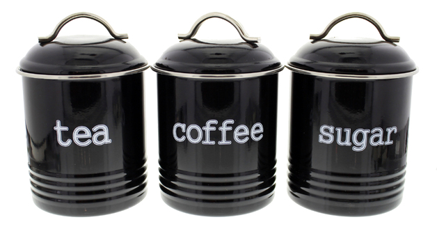 Tea/Sugar/Coffee Canisters 3 Set - Black