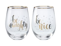 Maxwell & Williams: Celebrations Stemless Glass Set of 2 - Naughty Nice (500ml)