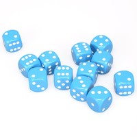 Chessex: D6 Opaque Cube Set (16mm) - Light Blue/White
