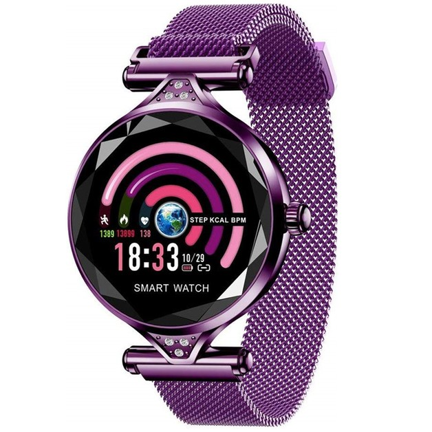 Smart Watch with Heart Rate & Blood Pressure Monitor - Purple