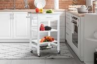Shangri-La: Kingston Stainless Steel Kitchen Trolley - White