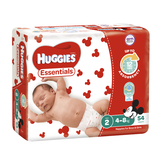 Huggies Essentials Nappies Bulk - Size 2 Infant (54)