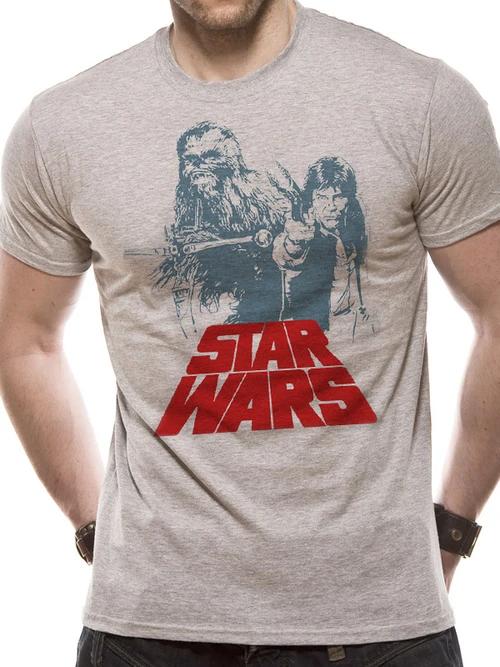 Star Wars - Solo Chewie Duet Retro T-Shirt Heather Grey - Medium