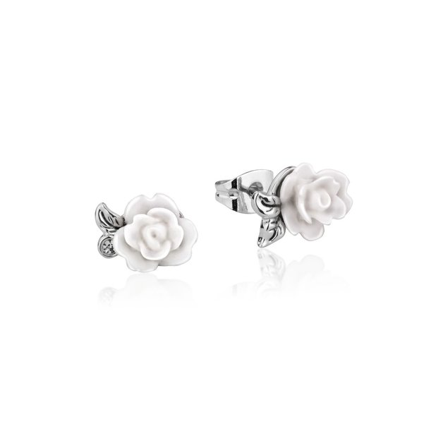 Disney: Beauty and the Beast Rose Studs - White Gold
