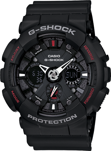Casio G-Shock Analogue/Digital Mens Black Motorcycle Sports Watch GA-120-1ADR