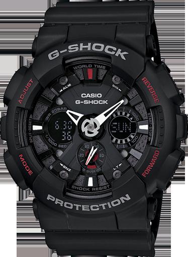 Casio G-Shock Analogue/Digital Mens Black Motorcycle Sports Watch GA-120-1ADR