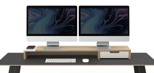 Pout EYES 9 DUAL AIO Wireless Charging and Hub Station Dual Monitor Stand White
